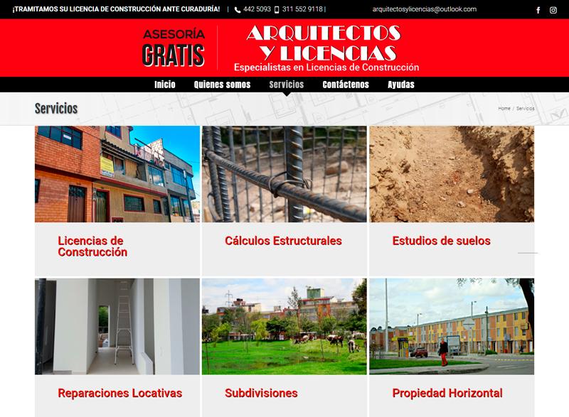 sitio web para firma de arquitectos en bogota servicios