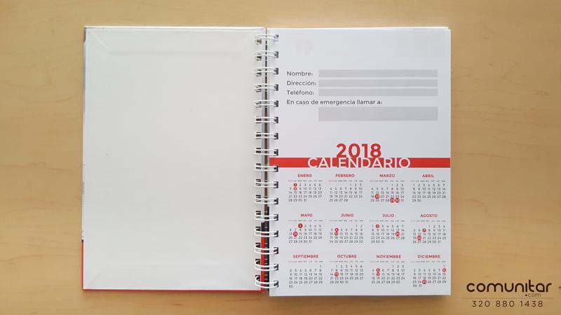 calendario inserto en agenda corporativa