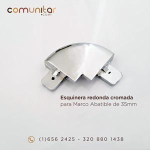 esquinera redonda cromada para perfil abatible de 35mm