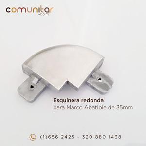 esquinera redonda color aluminio para perfil abatible de 35mm