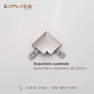 esquinera cuadrada color aluminio para marco abatible de 25mm