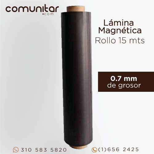 rollo de lámina magnética de 0.7 mm de 60 cms de altura x 15 metros vista frontal