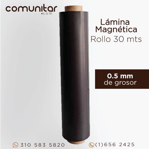 rollo de lámina magnética de 0.5 mm de 60 cms de altura x 30 metros vista frontal