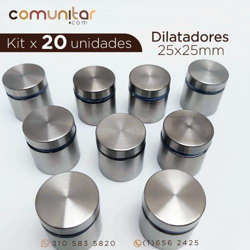 kit x 20 unidades dilatadores en acero hueco de 25x25 mm